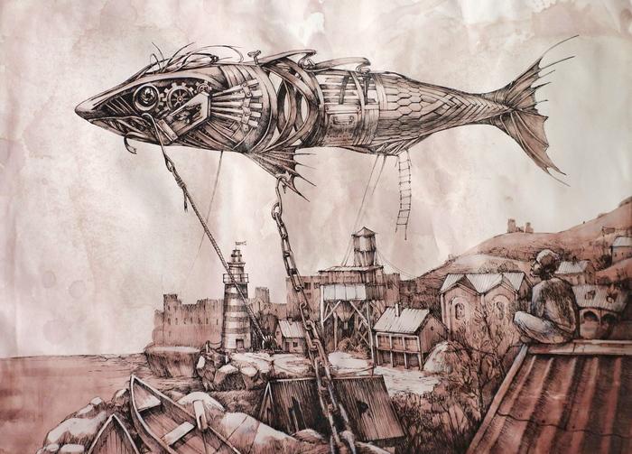Рыба над городом Арт, Тушь, Длиннопост, Графика, Рисунок, Дирижабль, Полет, Рыба, Улитка