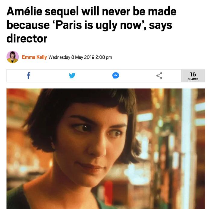 """Продолжения фильма """"Амели"""" не будет, так как """"Париж стал слишком уродливым"""" - заявил режиссёр Амели, Фильмы, Париж"""