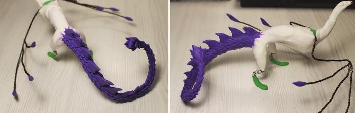 Фиолетовая виверна Рукоделие с процессом, Лепка, Полимерная глина, Дракон, Виверна, Ручная работа, Длиннопост