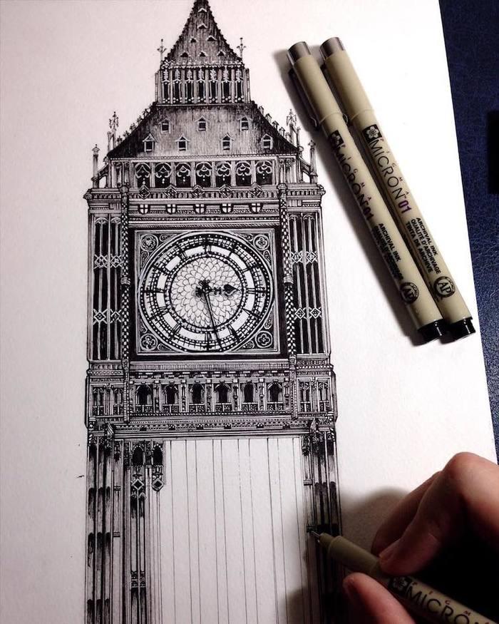 Японка создает удивительные рисунки архитектуры Рисунок ручкой, Архитектура, Гифка, Видео, Длиннопост