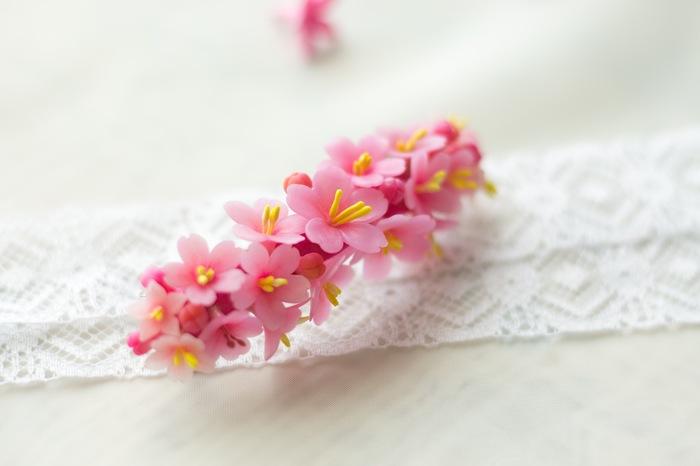 Заколка с цветами сакуры Сакура, Цветы, Полимерная глина, Ручная работа, Длиннопост