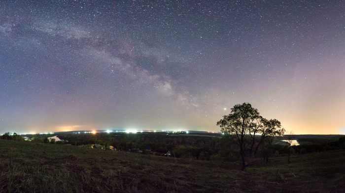На берегу Уфы. Млечный путь, Панорама, Ночная съемка, Длинная выдержка, Башкортостан, Пейзаж, Астрофото
