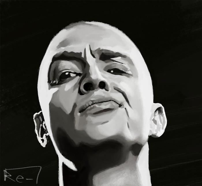 Мирон Черно-Белое, Иллюстрации, Рисунок, Цифровой рисунок, Стилизация, Музыканты, Хип хоп, Портрет