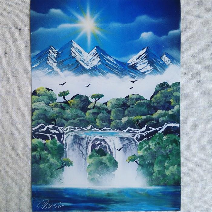 Процесс создания картины в технике Spray paint art Spray Art, 5ilverart, Видео, Влюбленные, Луна, Длиннопост, Картина, Пейзаж, Вода, Космос