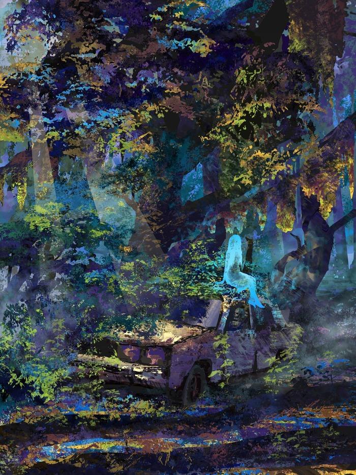 Призрак Арт, Иллюстрации, Цифровой рисунок, Рисунок, Призрак, Лес, Заброшенные авто