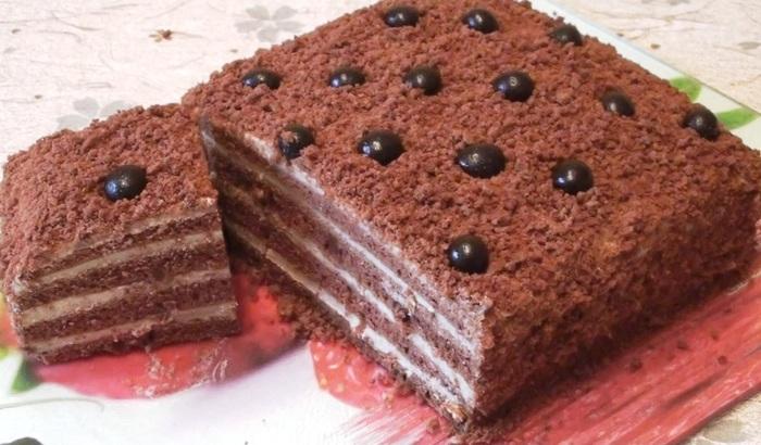 """Торт """"Капучино"""" Торт, Шоколадный торт, Кофейный торт, Бисквит, Видео, Длиннопост"""
