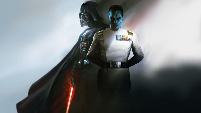 Гранд Адмирал Траун и Дарт Вейдер Арт, Рисунок, Star Wars, Траун, Дарт Вейдер, Световой меч, Фантастика, Митт'рау'нуруодо