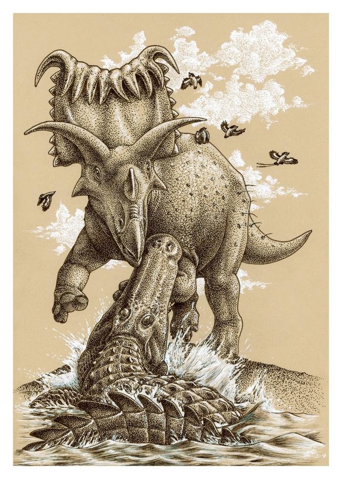 Кусь Динозавры, Палеонтология, Палеоарт, Рисунок, Рисунок ручкой