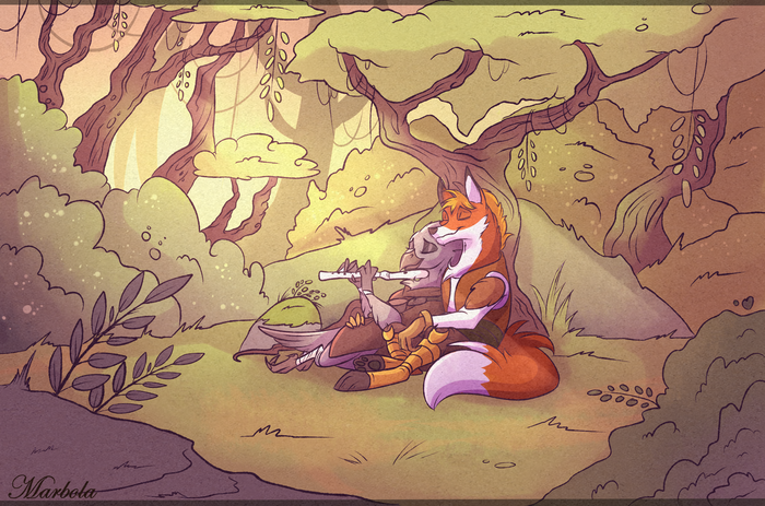 Evening rest Фурри, Furry Art, Furry avian, Furry Crow, Furry Fox, Marbola