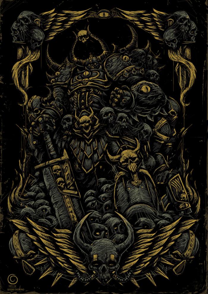 Warhammer 40000 Warhammer 40k, Chaos Knight, Длиннопост, Игры, Рисунок, Цифровой рисунок