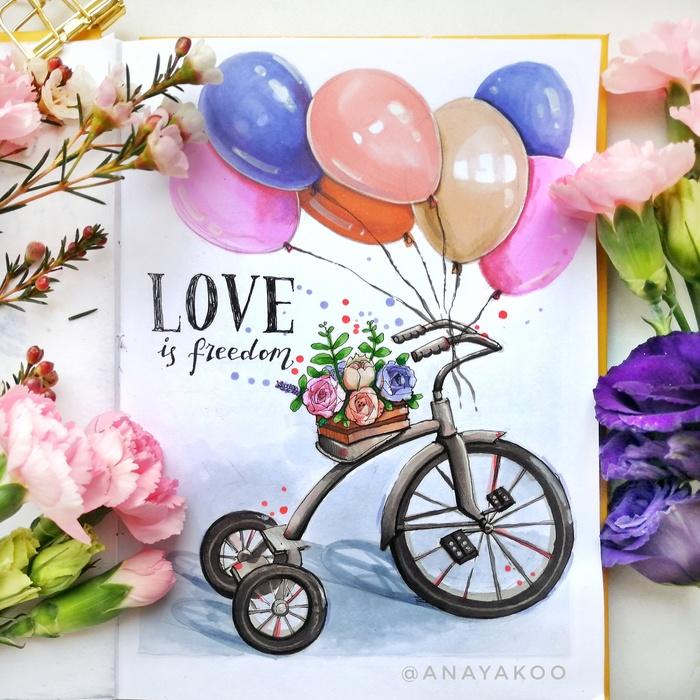 Love is freedom Велосипед, Свобода, Любовь, Спиртовые маркеры, Линер, Скетч, Скетчбук, Рисунок