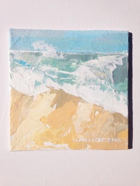 """Океан"" Акрил.Холст на картоне 10*10 Арт, Океан, Искусство, Минимализм, Картина, Природа, Море, Длиннопост"