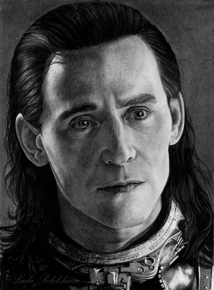 """Портрет простым карандашом. """"Локи"""" Портрет, Графика, Локи, Том Хиддлстон, Marvel, Рисунок, Знаменитости, Актеры"""