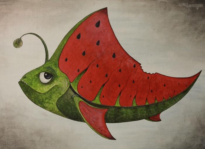 Арбузный рыб :) Рыба, Рисунок, Творчество, Удильщик, Арбуз, Фантазия, Акрил