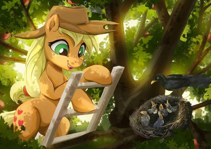 ЭйДжей лягает деревья - хороший день\плохой день My Little Pony, Applejack, Semi-Grimdark, Птицы, Птенец, Fidzfox