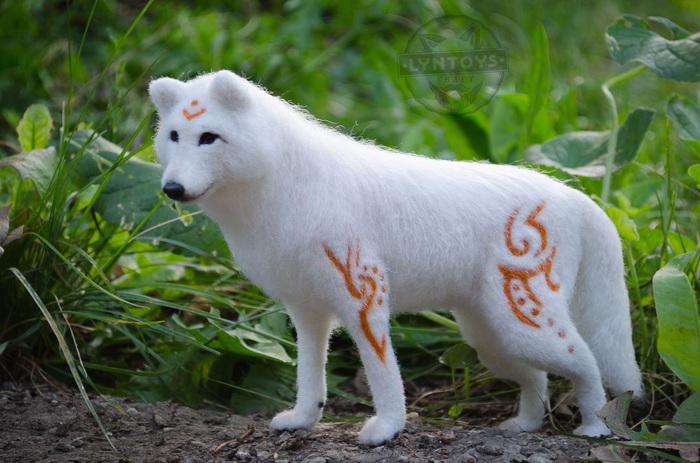 Белый волк, скульптура из войлока Белый волк, Рукоделие без процесса, Рукоделие, Ручная работа, Сухое валяние, Волк, Фэнтези, Авторская игрушка, Длиннопост