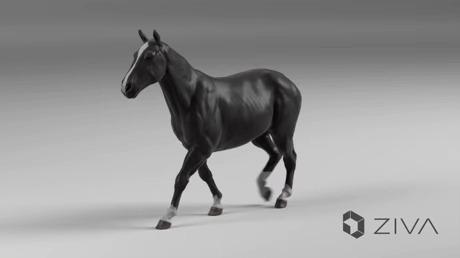 Ультра-реалистичная анимация лошади с правильными движениями мышц