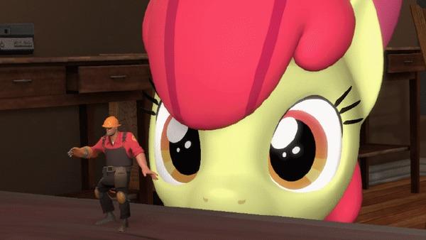 Занимательное зрелище My Little Pony, Applebloom, Team Fortress 2, Гифка