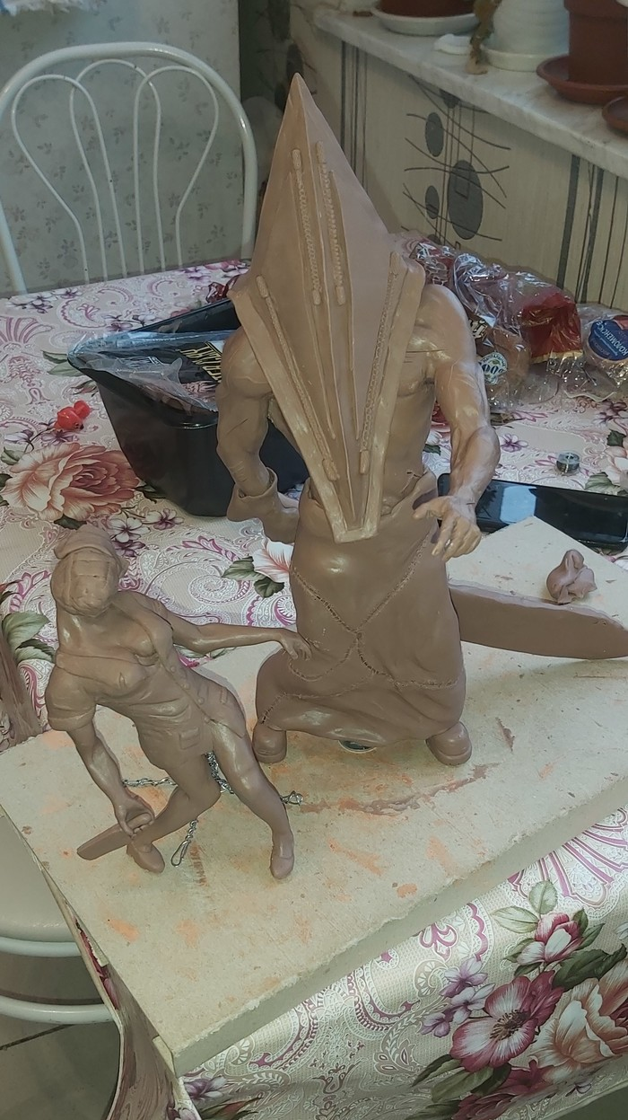Пирамидоголовый Silent Hill, Полимерная глина, Глина, Поделки, Фигура, Лепка, Длиннопост