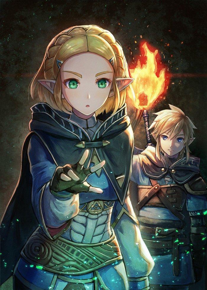 Линк и Зельда Link, The Legend of Zelda, Princess Zelda, Арт, Game Art