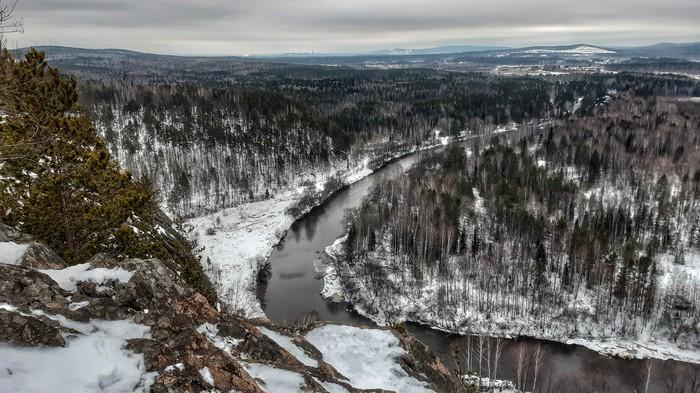 Вид сверху Природа, Зима, Пейзаж, Река, Горы, Мобильная фотография, Длиннопост