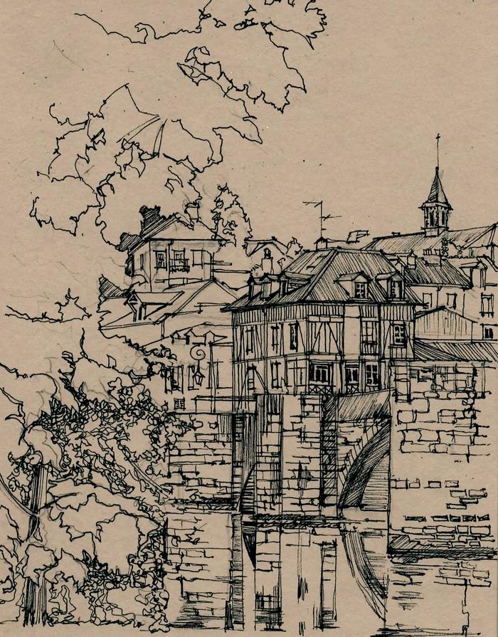 Город Лимож, рисунок ручкой
