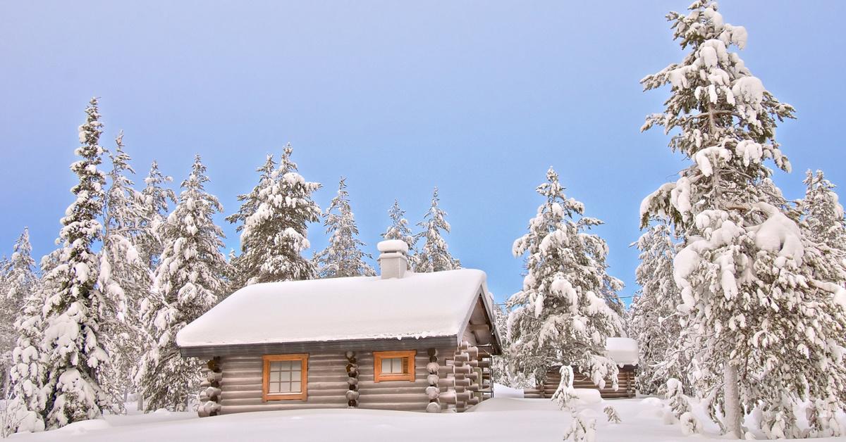 Домик в лесу картинка зимой