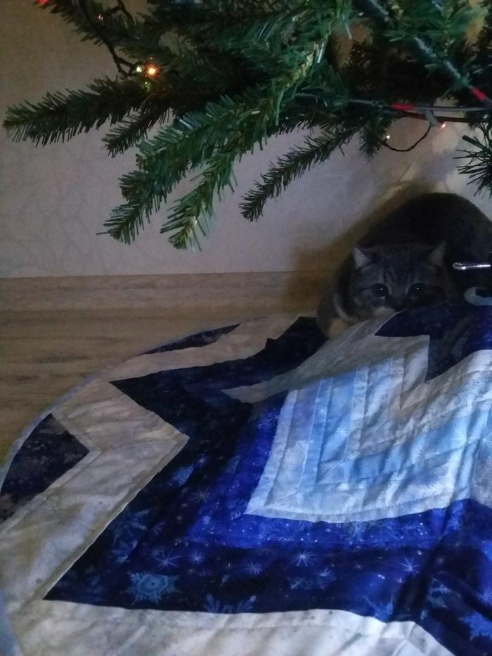 Лоскутная юбка для новогодней елки Шитье, Лоскутное шитье, Пэчворк, Рукоделие с процессом, Длиннопост, Кот