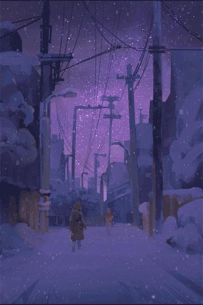 Снегопад Арт, Снегопад, Анимация, Гифка, Gydw1n