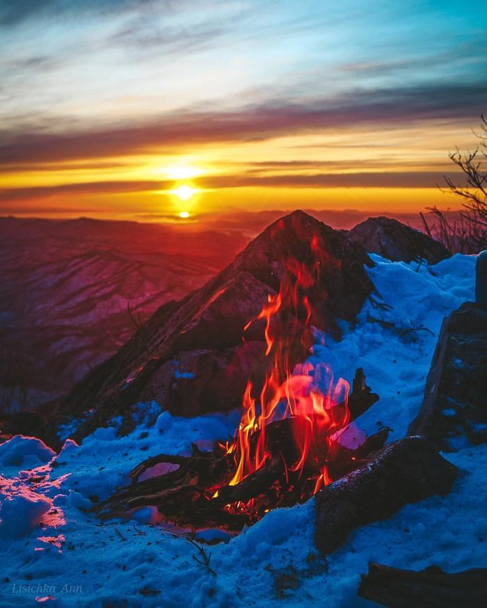 Бомбический закат на который мы чуть не опоздали) Приморье, хребет Лозовый (Чандолаз)