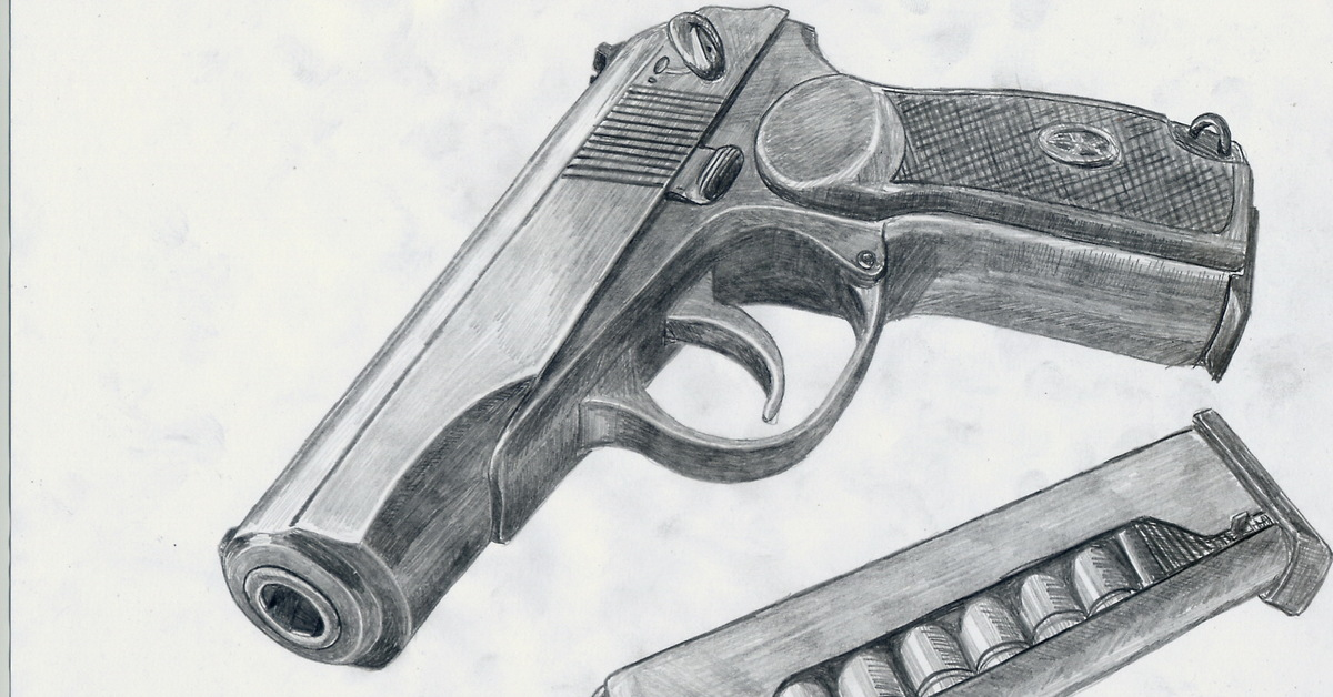 Пистолет арты карандашом