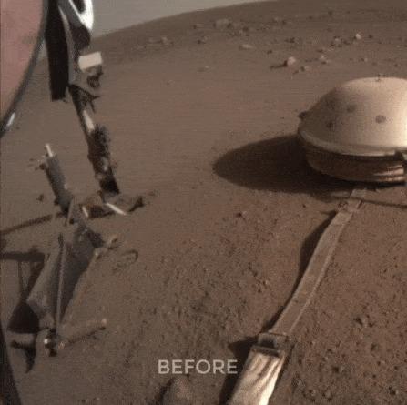 Марсианский зонд InSight возобновил бурение, помогая себе ковшом Insight, Марс, Космос, NASA, Гифка, Длиннопост