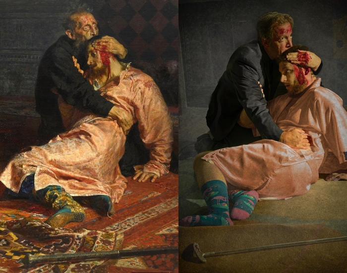 ИзоИзоляция Мой муж и сын воссоздали картину Репина quotИван Грозный убивает своего сынаquot