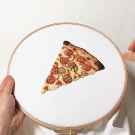 Ответ на пост «Ммммм....сыр» Вышивка, Пицца, Повторение, А вам слабо?, Гифка, Ответ на пост, Челлендж