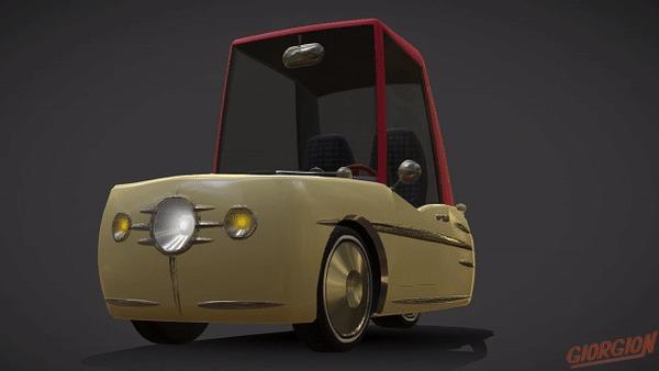 Трёхколёсный Мультяшный Автомобиль Векто 3DS max, Blender, 3D, Моделизм, Авто, Трехколесный, 3D графика, Гифка, Длиннопост