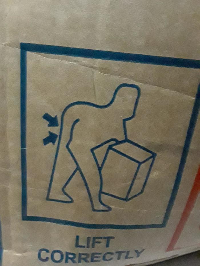 """""""Увидел это на коробке. Я так и не смог понять, как же надо правильно её поднимать, следуя этому рисунку"""""""