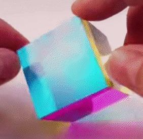 Куб с диэлектрическим зеркальным покрытием Оптика, Куб, Гифка