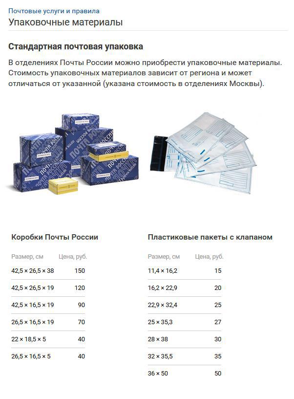 0f74fb4fd41f6 Почта России – цены на упаковочные материалы