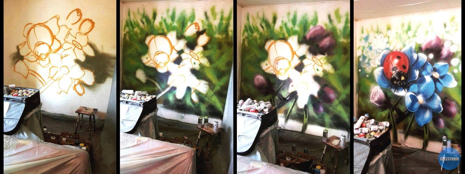 Картинки по запросу граффити на стене пошагово
