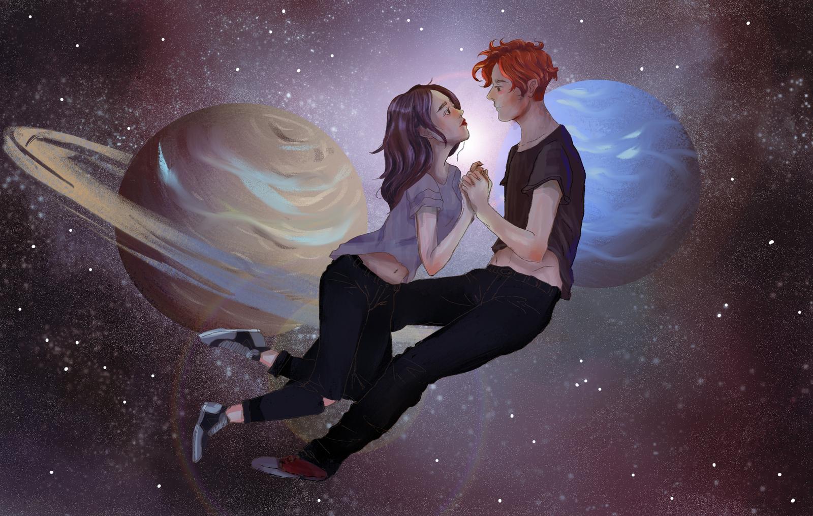 Девушка с парнем в космосе