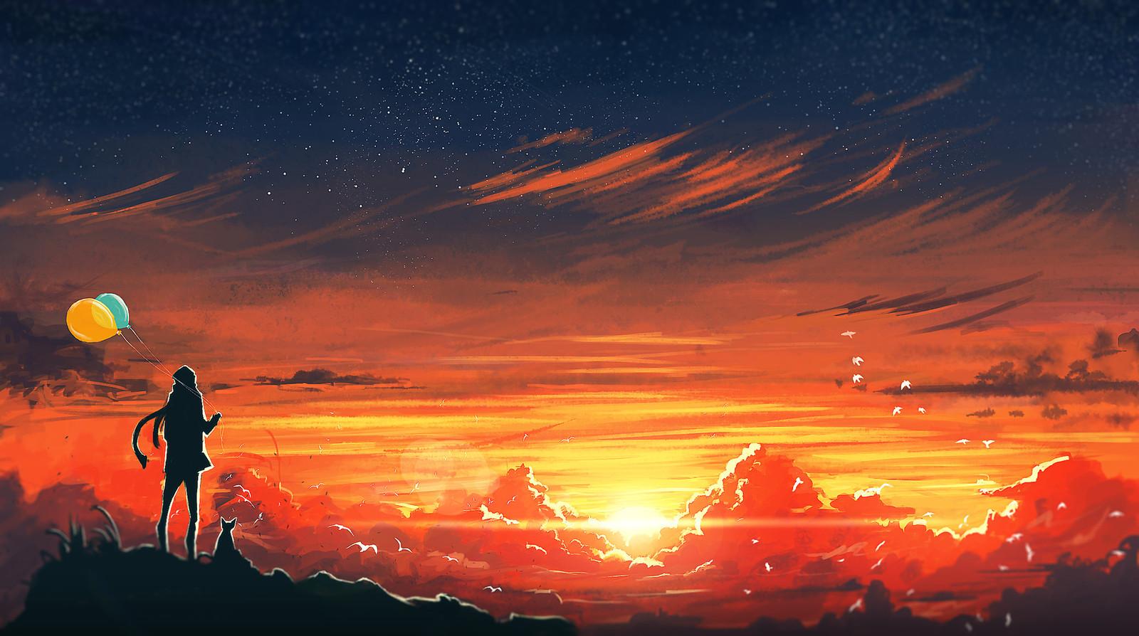 закат рисунок