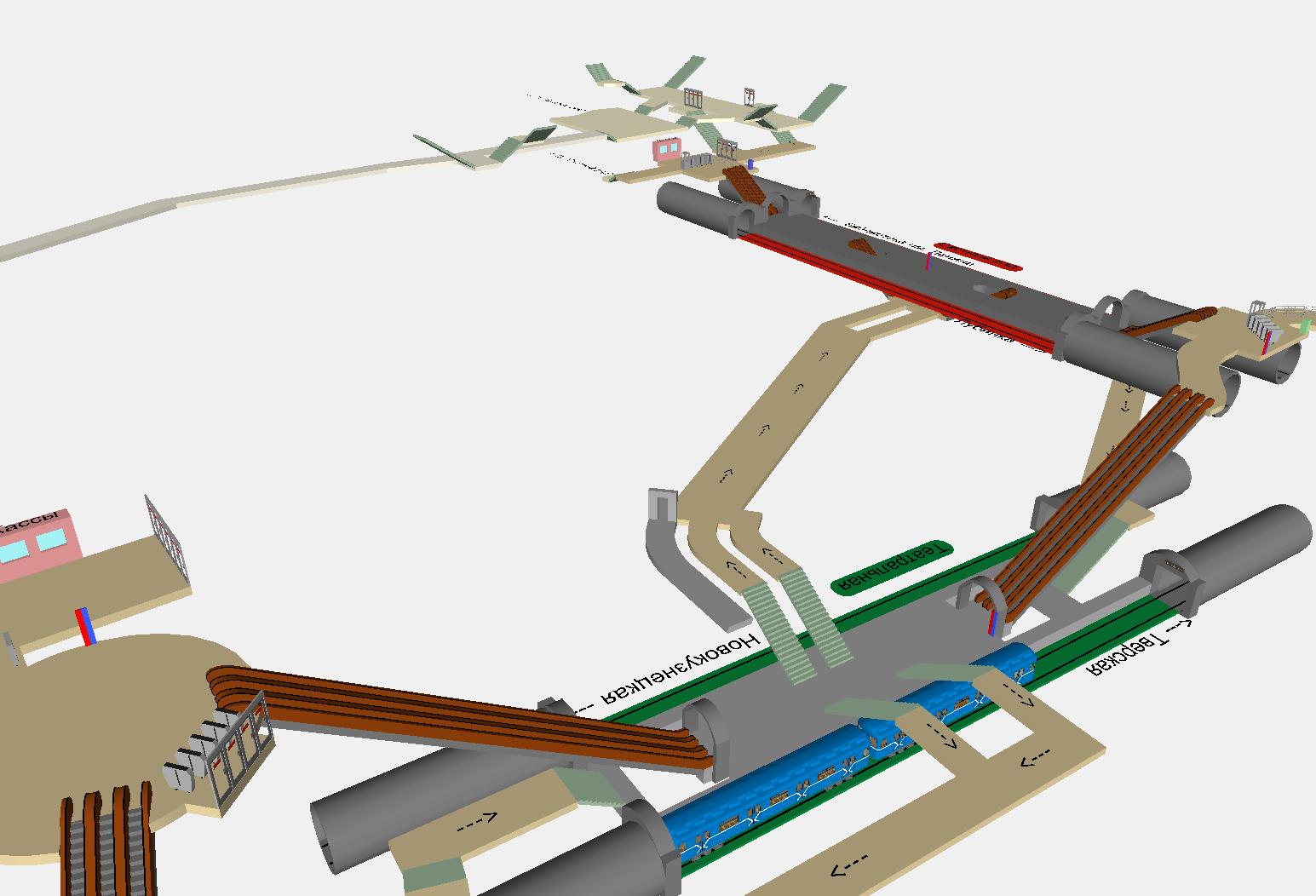 Схема станции метро 3d