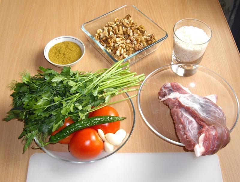 Ингредиенты на суп харчо