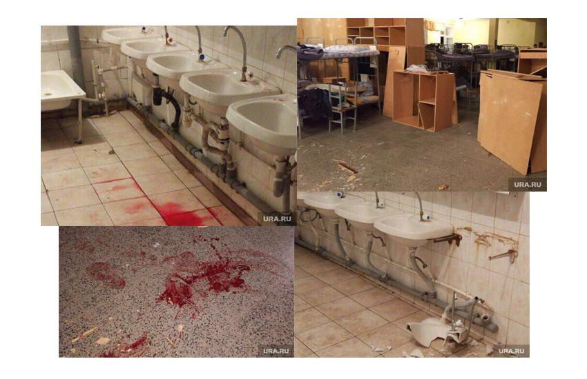 Фотографии казармы впечатляют: выбитые окна, перевернутая мебель, лужи крови на полу. Так сразу и не поймешь, то ли это последствия боев с кровавым Трампом, то ли многонациональное пополнение приехало.