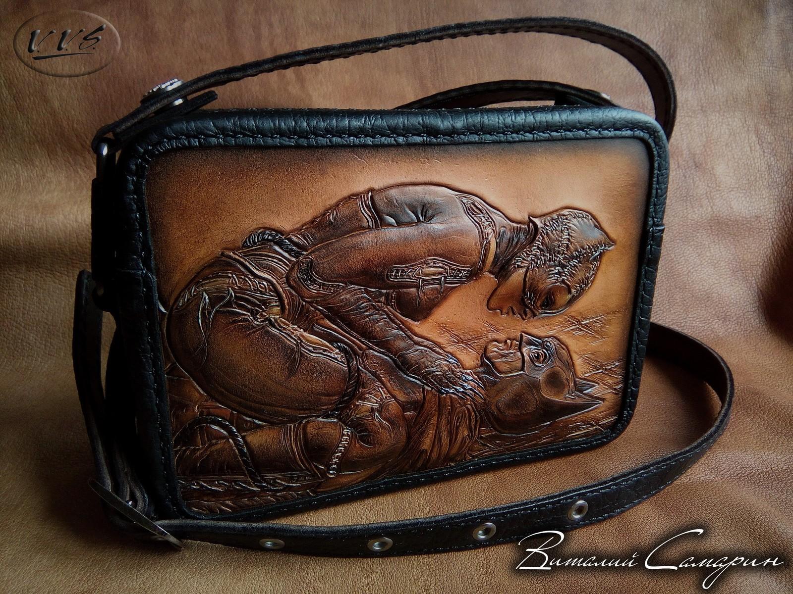 d3ada27a3498 Кожаная сумка ручной работы Женщина-кошка