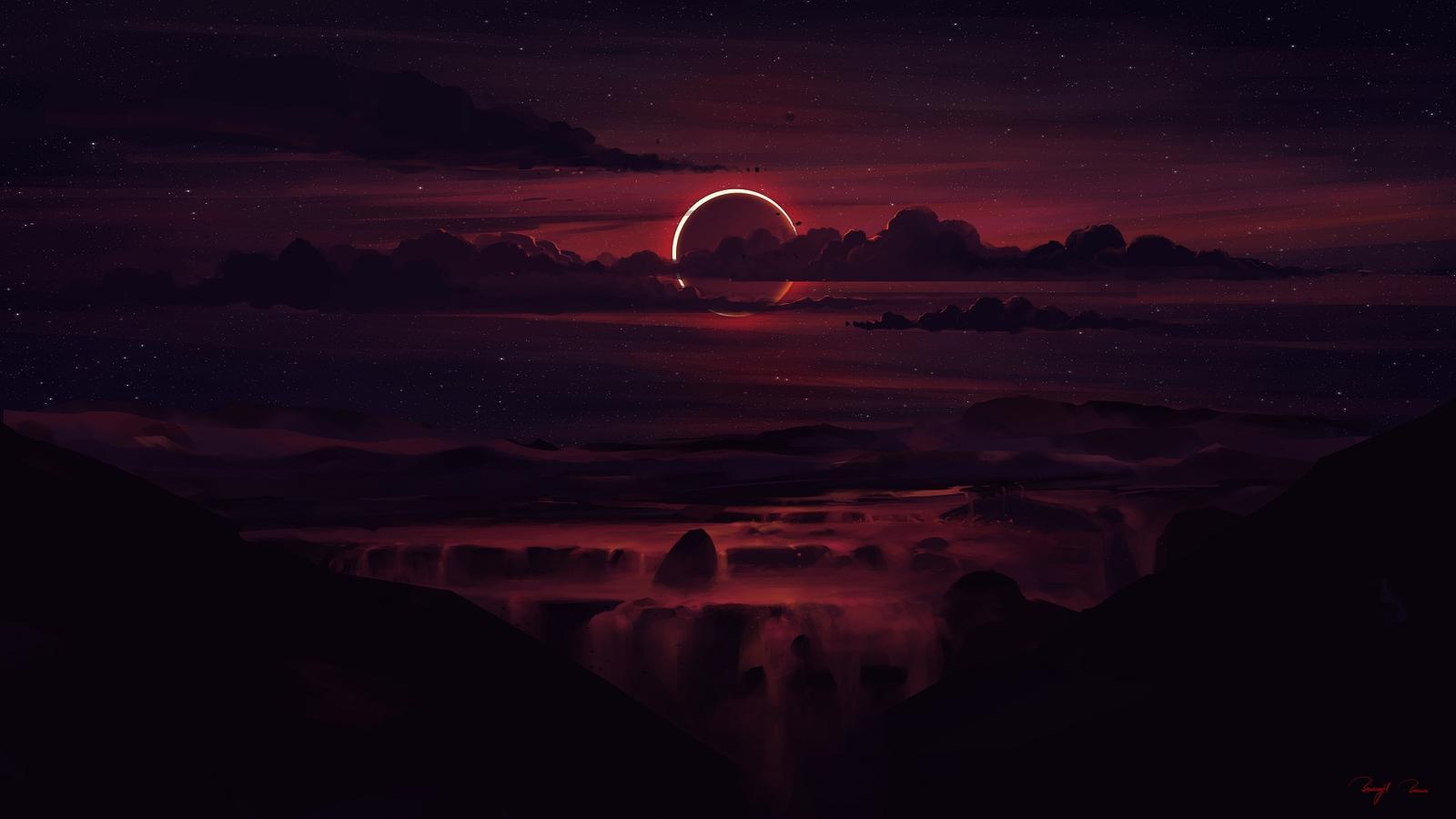 Обои Eclipse, дорога. закат, Alena Aenami. Разное foto 11