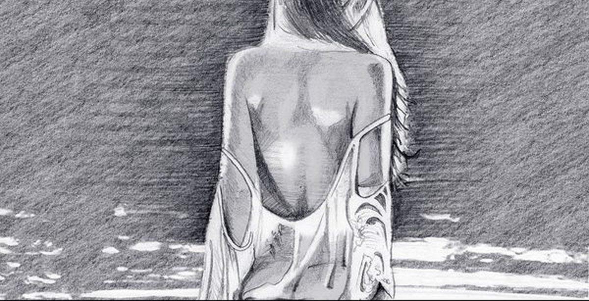 Картинки девушка у моря со спины карандашом